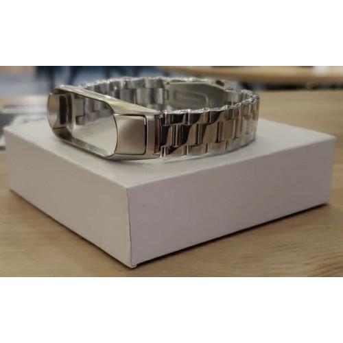 Ремешок Xiaomi Mi Band 3/4 (металлическое крупное плетение) Silver