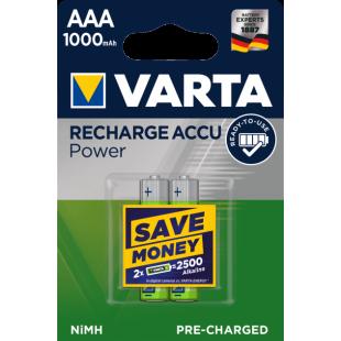 Аккумулятор VARTA RECHARGEABLE ACCU AAA 1000mAh BLI 2 NI-MH (05703301402)