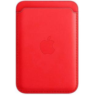 Кожаный кошелек для iPhone 12/12 mini/12 Pro Max MagSafe - Product Red (1:1)