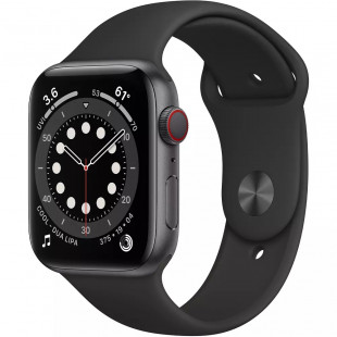 Apple Watch Series 6 GPS + Cellular 44mm Space Gray Aluminum Case w. Black Sport B. (M07H3 / MG2E3)