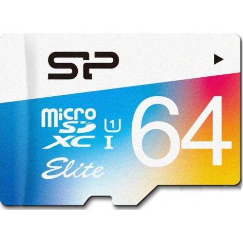 Карта памяти Silicon Power 64 GB microSDXC Class 10 UHS-I Elite Color + SD adapter SP064GBSTXBU1V21SP