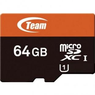Карта памяти TEAM microSDXC UHS-I 64 GB сlass10 + SD адаптер (TUSDX64GUHS03)