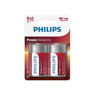 Батарейка Philips Power Alkaline D BLI 2