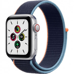 Apple Watch SE GPS + Cellular 40mm Silver Aluminum Case with Deep Navy Sport L. (MYE92)