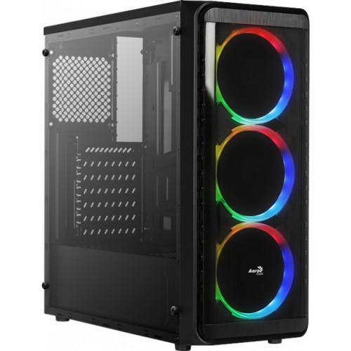 Корпус AEROCOOL SI-5200 RGB Black Mid Tower glass side panel