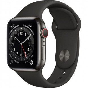 Apple Watch Series 6 GPS + Cellular 40mm Graphite Stainless Steel Case w. Black Sport B. (M02Y3)