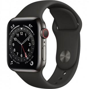 Apple Watch Series 6 GPS + Cellular 40mm Graphite Stainless Steel Case w. Black Sport B. (M02Y3)