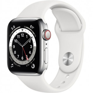 Apple Watch Series 6 GPS + Cellular 40mm Silver Stainless Steel Case w. White Sport B. (M02U3)