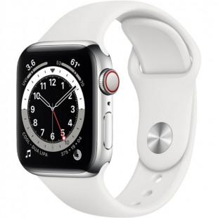 Apple Watch Series 6 GPS + Cellular 40mm Silver Stainless Steel Case w. White Sport B. (M02U3)