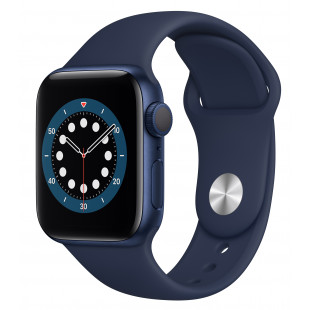 Apple Watch Series 6 GPS + Cellular 40mm Blue Aluminum Case w. Deep Navy Sport B. (M02R3)