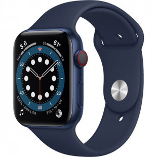 Apple Watch Series 6 GPS + Cellular 44mm Blue Aluminum Case w. Deep Navy Sport B. (M07J3)