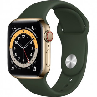 Apple Watch Series 6 GPS + Cellular 40mm Gold Stainless Steel Case w. Cyprus Green Sport B. (M02W3)