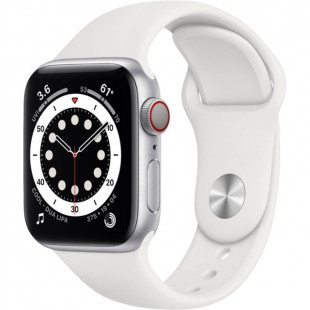 Apple Watch Series 6 GPS + Cellular 40mm Silver Aluminum Case w. White Sport B. (M02N3)