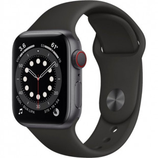 Apple Watch Series 6 GPS + Cellular 40mm Space Gray Aluminum Case w. Black Sport B. (M02Q3)