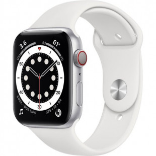 Apple Watch Series 6 GPS + Cellular 44mm Silver Aluminum Case w. White Sport B. (MG2C3 / M07F3)