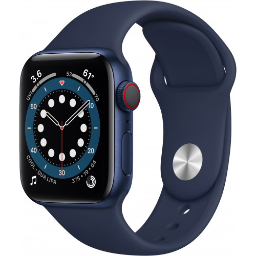 Apple Watch Series 6 GPS + Cellular 40mm Blue Aluminium Case with Deep Navy Sport Band (M06Q3)