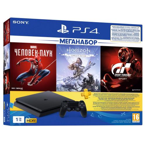 Sony PlayStation 4 Slim 1Tb (Gran Turismo + Horizon Zero Dawn + Spider Man + PSPlus 3М) (9391401)