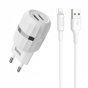 СЗУ Hoco C41A 2USB 2.4A  Charger set with Lightning cable(EU)  White