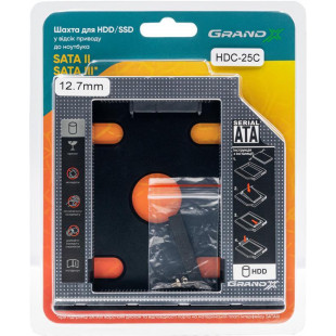 Адаптер Grand-X HDD 2.5″ в отсек привода ноутбука SATA/SATA3 (HDC-25C)