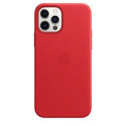 Кожаный чехол iPhone 12 /12 Pro Leather Case with MagSafe - (PRODUCT)RED (MHKD)