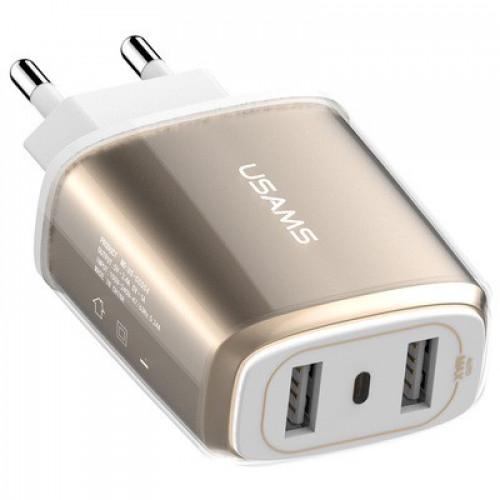 СЗУ USAMS 2-USB зарядка 3.4A Gold