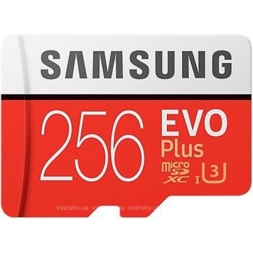Карта памяти Samsung EVO Plus 256GB microSDXC UHS-I U3 сlass10 +SD адаптер (MB-MC256DA/RU)