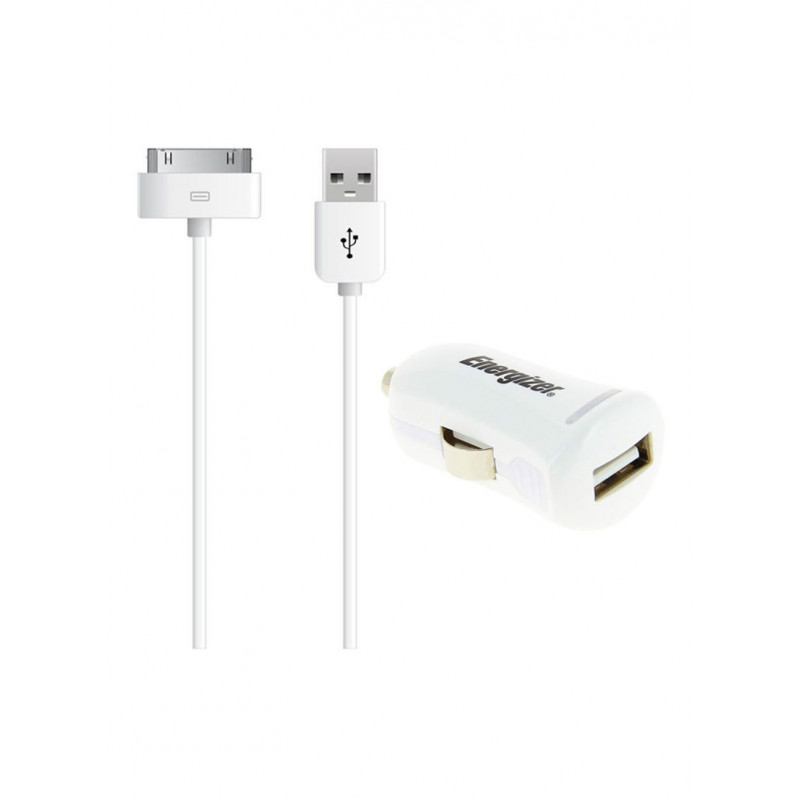 Energizer АЗУ USB + кабель 30 pin для Apple iPhone/iPad 2.1A белая (DC1UHIP2)
