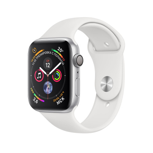 Apple Watch Series 4 (GPS) 44mm Silver Aluminum Case with White Sport Band MU6A2