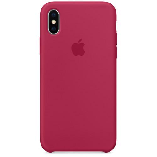 Силиконовый чехол Apple Silicone Case Rose Red (1:1) для iPhone XS