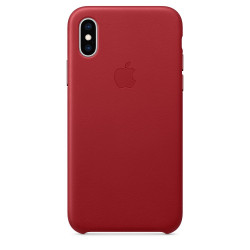 Кожаный чехол Apple Leather Case Red (1:1) для iPhone XS Max