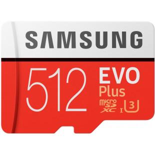 Карта памяти Samsung 512 GB microSDXC Class 10 UHS-I U3 EVO Plus + SD Adapter MB-MC512GA
