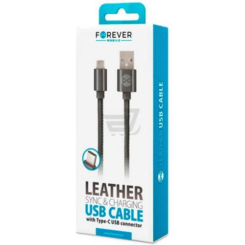 Кабель Forever USB Type-C (Leather Black) (GSM032492)