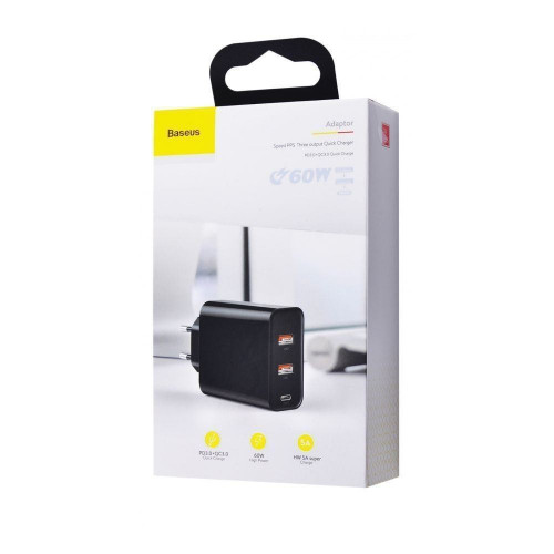 СЗУ Baseus PPS Three Output Quick Charger 60W (Type-C+2USB) Black (CCFS-G01)