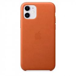 Кожаный чехол Apple Leather Case Saddle Brown (1:1) для iPhone 11