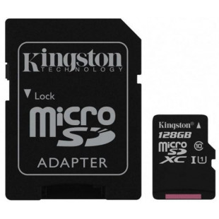 Карта памяти Kingston 128GB microSDXC card C10 UHS-I  Select 100R + adapter (SDCS2/128GB)