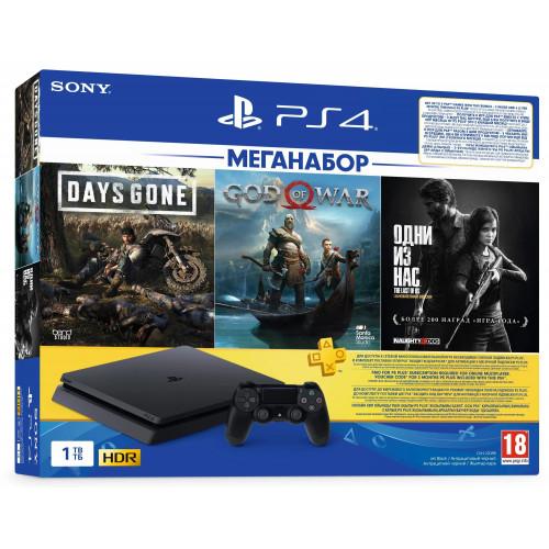 Sony PlayStation 4 Slim 1Tb Black (Last Of Us + Gods Of War + Days Gone + PSPlus 3М) (9382102)