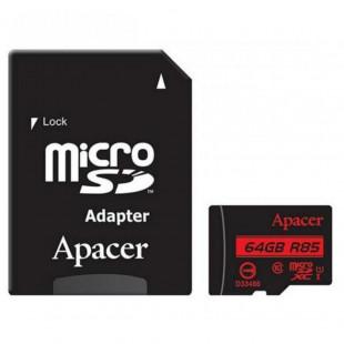 Карта памяти Apacer 64GB microSDXC UHS-I U1+adapter (R85MB/s) (AP64GMCSX10U5-R)