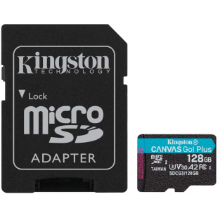 Карта памяти Kingston 128GB microSDXC Canvas Go+ U3 V30 (R170/W90)+ad