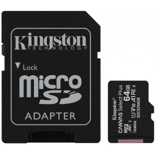 Карта памяти Kingston 64GB microSDXC Canvas Go+ U3 V30 (R170/W70)+ad