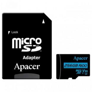 Карта памяти Apacer 256GB microSDXC UHS-I U3 V30 +ad (R100MB/s)