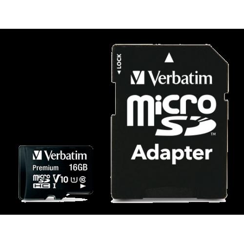 Карта памяти Verbatim card microSDHC 16Gb w/SD adapter 44082(CLASS 10)