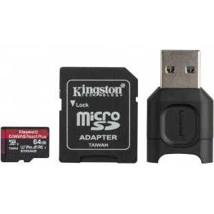 Карта памяти Kingston 64GB microSDXC Canvas React+ (R285/W165)+reader
