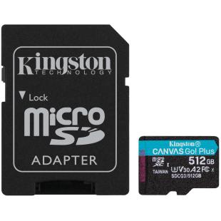 Карта памяти Kingston 512GB microSDXC C10 UHS-I U3 A2 R170/W90MB/s + SD адаптер
