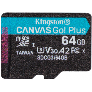 Карта памяти Kingston 64GB microSDXC C10 UHS-I U3 A2 R170/W70MB/s