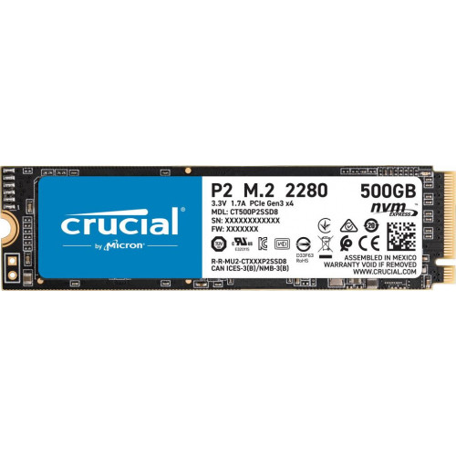 M2 - SSD  500GB Crucial P2 M.2 2280 PCIe 3.0 x4 TLC (CT500P2SSD8)